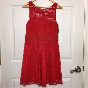 NWT BB DAKOTA Revolve Red Lace Aline Dress Size 6